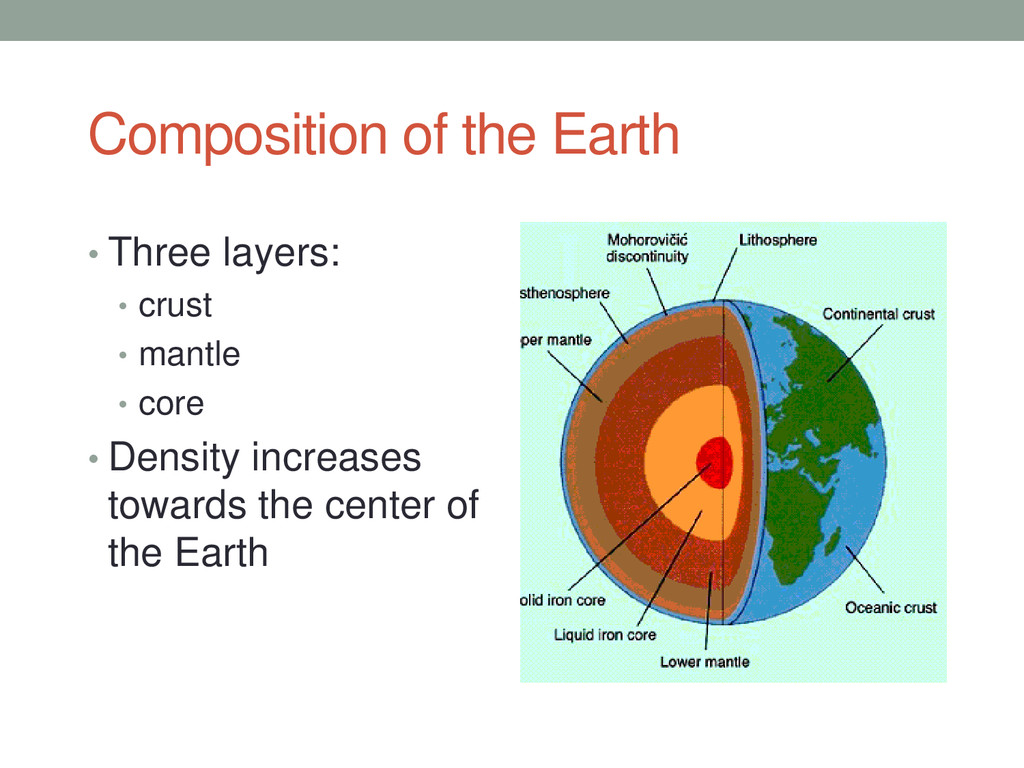 Composition of the Earth • Three layers: • crus...