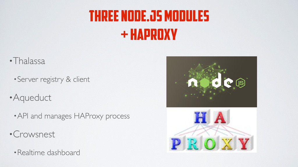 THREE NODE.JS MODULES + HAPROXY •Thalassa •Serv...