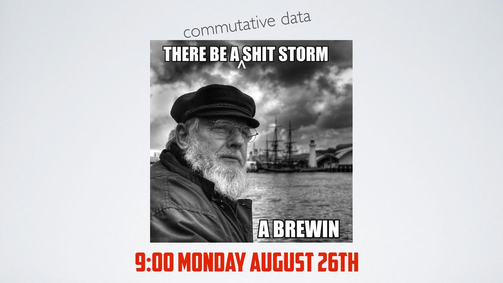 commutative data > 9:00 MONDAY AUGUST 26TH