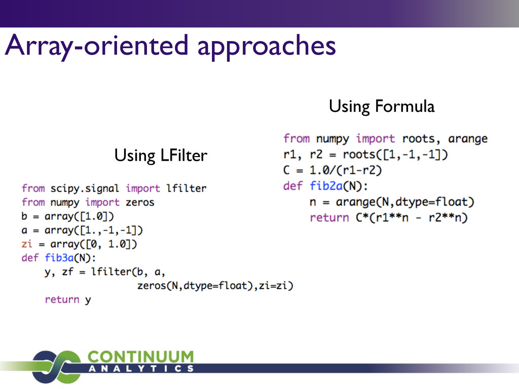 Array-oriented approaches Using LFilter Using F...