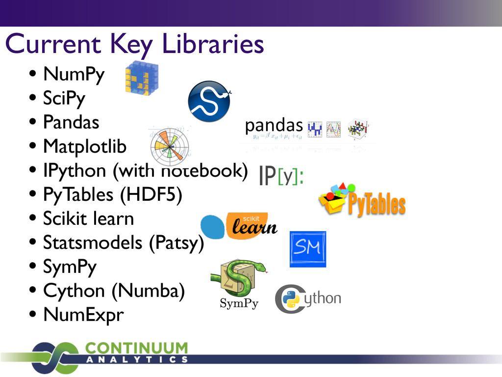 Current Key Libraries • NumPy  • SciPy  • P...