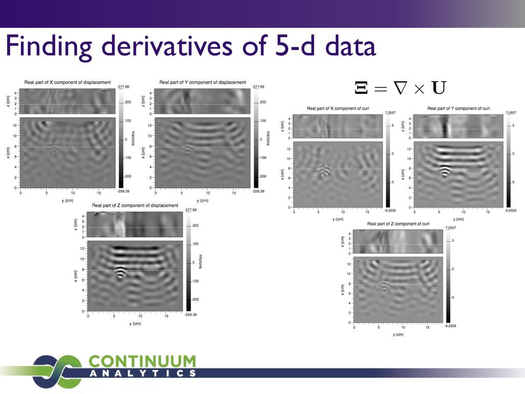 Finding derivatives of 5-d data ⌅ = r ⇥ U