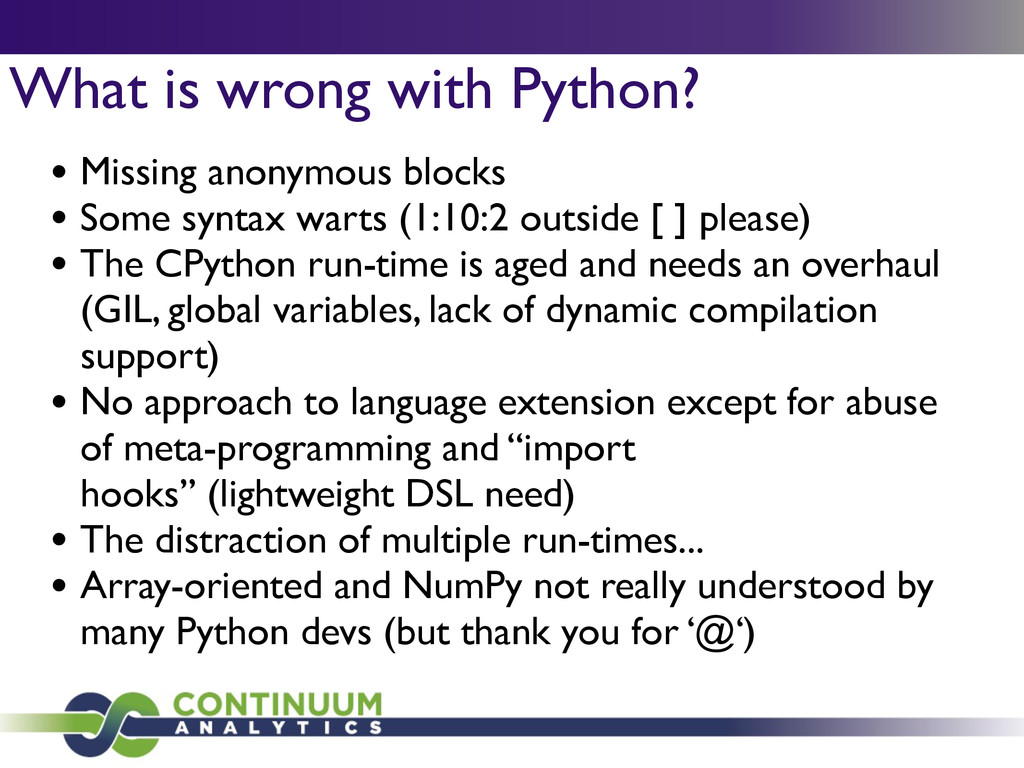 What is wrong with Python? • Missing anonymous ...
