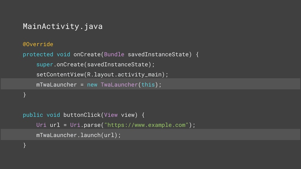 MainActivity.java @Override protected void onCr...