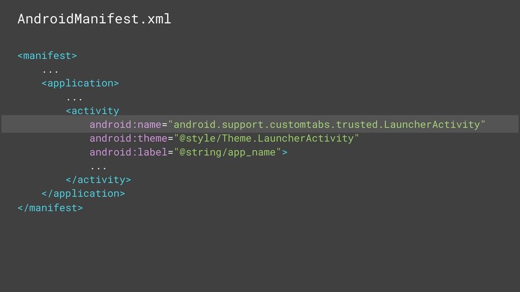 AndroidManifest.xml <manifest> ... <application...
