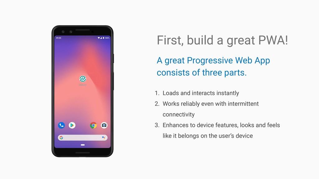 A great Progressive Web App consists of three p...