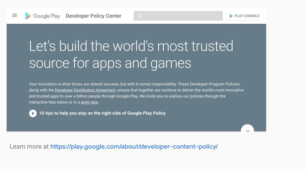 [ play policies ] [ screenshot of Play policy p...