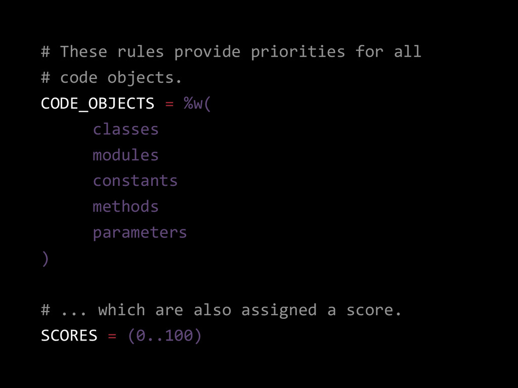 # These rules provide priorities for all # code...
