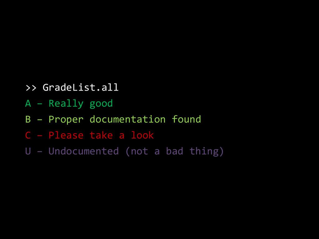 >> GradeList.all A – Really good B – Proper doc...