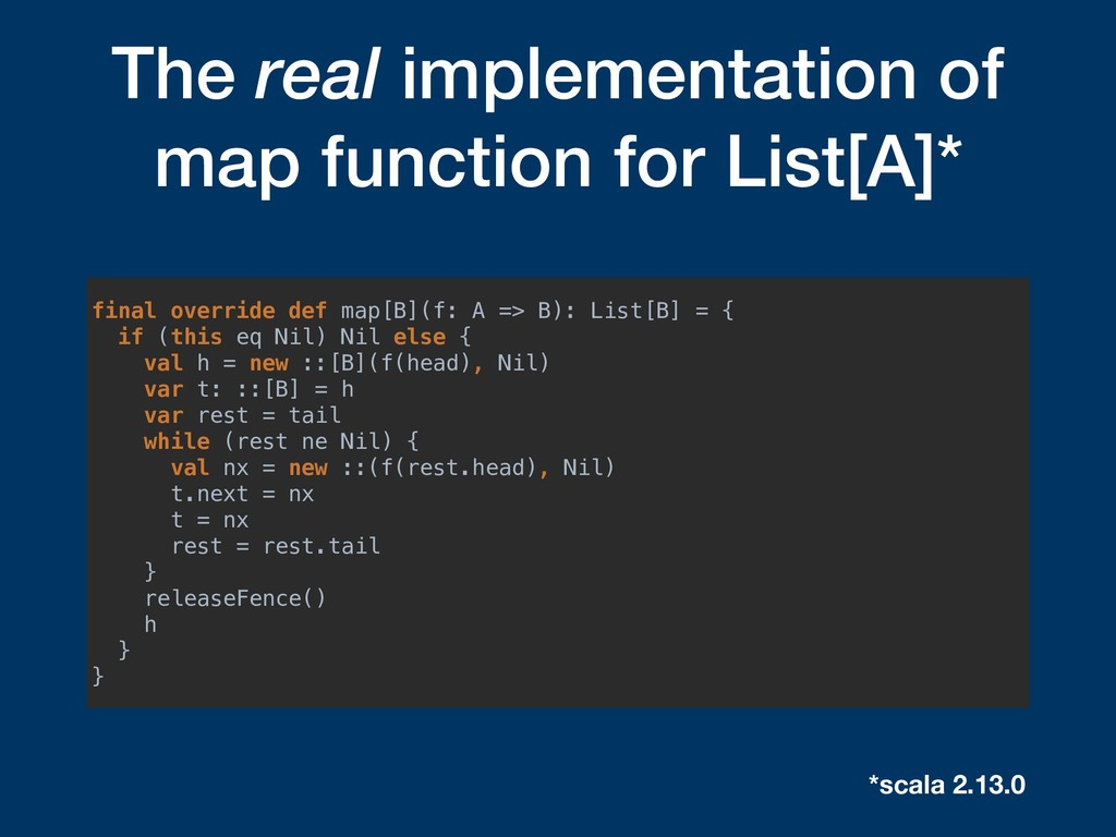 The real implementation of map function for Lis...