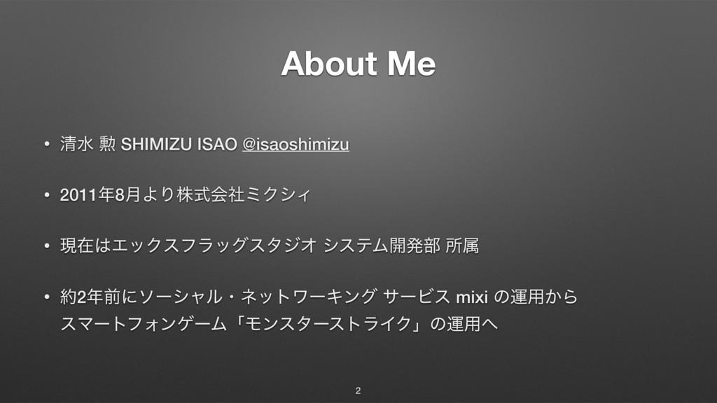 About Me • ਗ਼ਫ ܄ SHIMIZU ISAO @isaoshimizu • 201...
