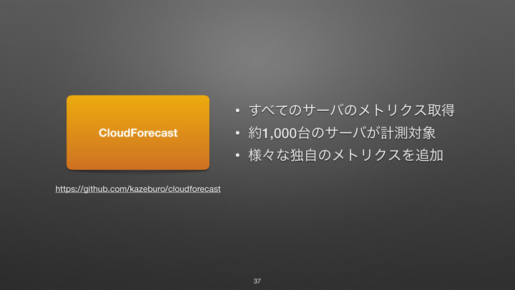 37 CloudForecast • ͯ͢ͷαʔόͷϝτϦΫεऔಘ • 1,000ͷαʔ...