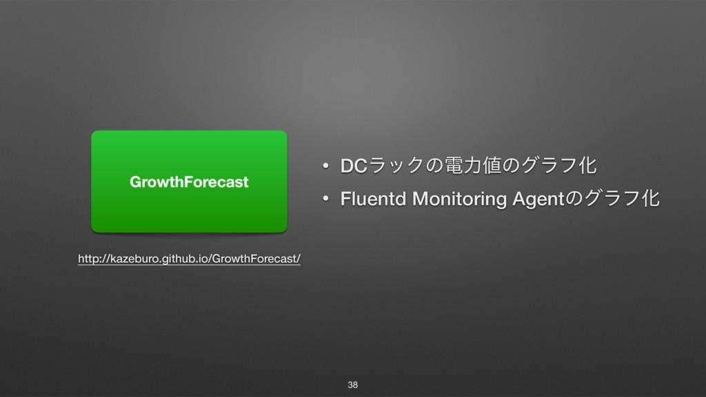 38 GrowthForecast • DCϥοΫͷిྗͷάϥϑԽ • Fluentd Mo...