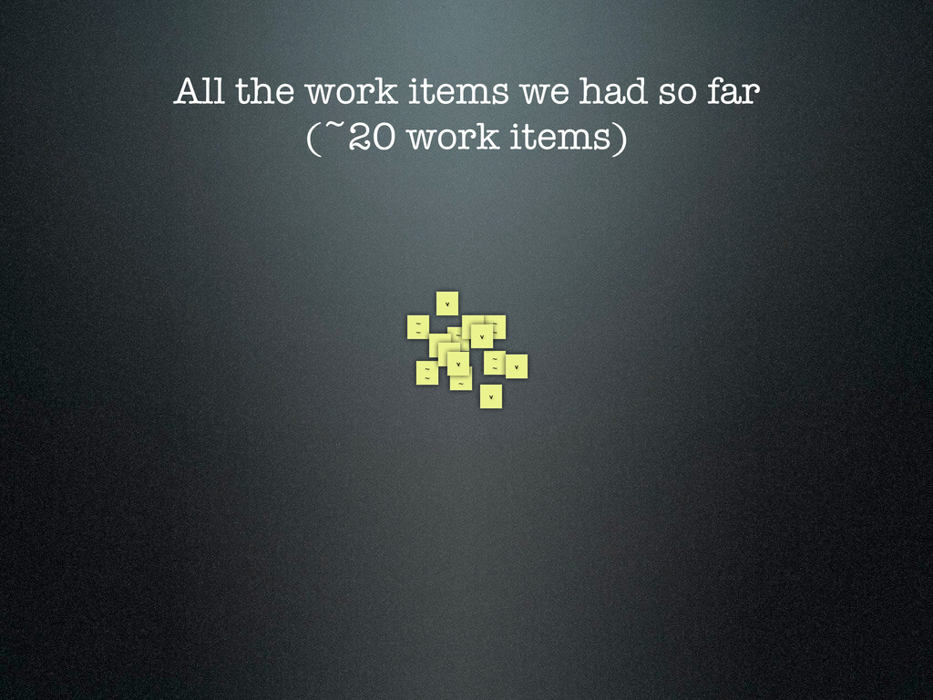 All the work items we had so far (~20 work item...