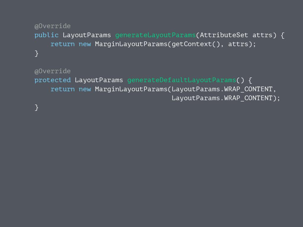 @Override public LayoutParams generateLayoutPar...