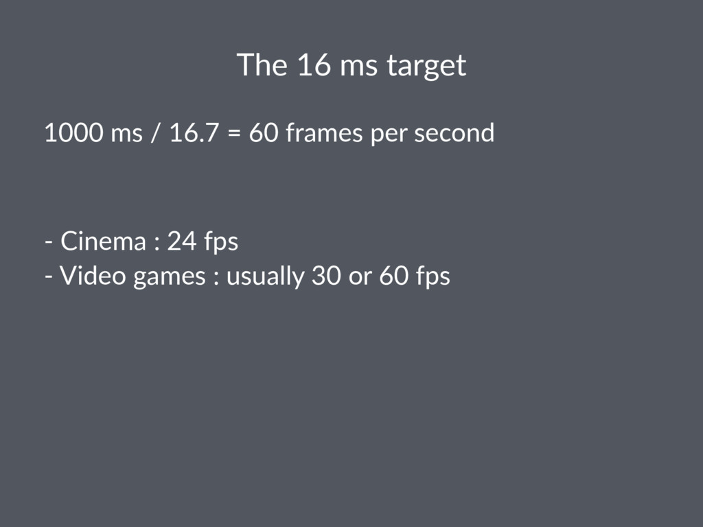 The 16 ms target 1000 ms / 16.7 = 60 frames per...