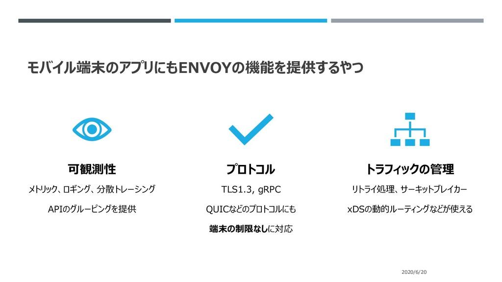 モバイル端末のアプリにもENVOYの機能を提供するやつ 2020/6/20 可観測性 メトリッ...