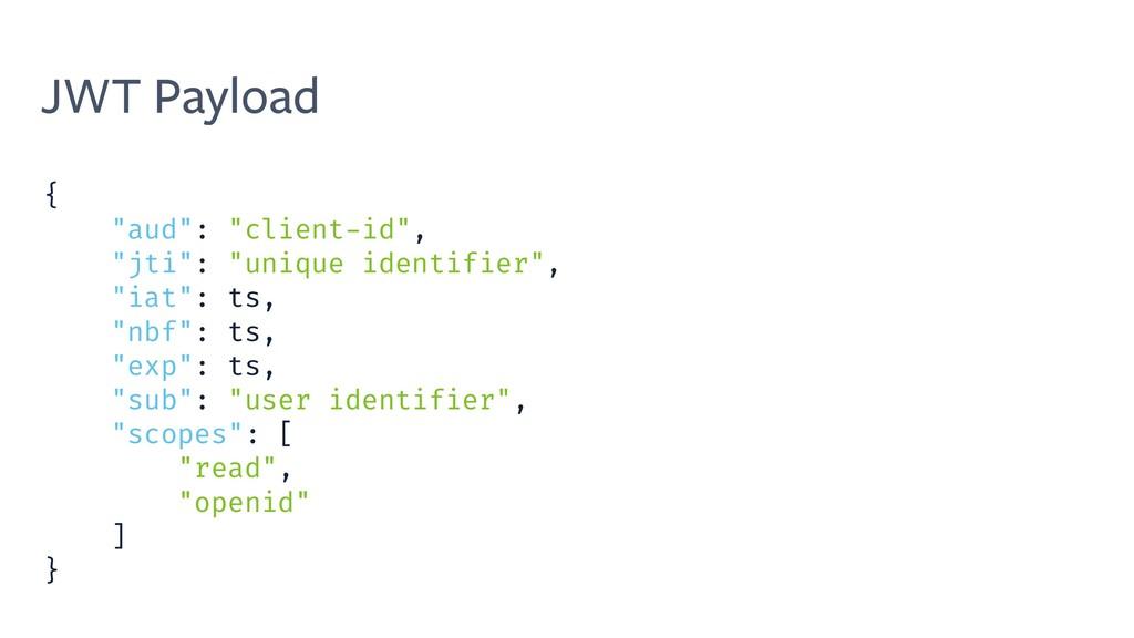 """JWT Payload { """"aud"""": """"client-id"""", """"jti"""": """"uniqu..."""