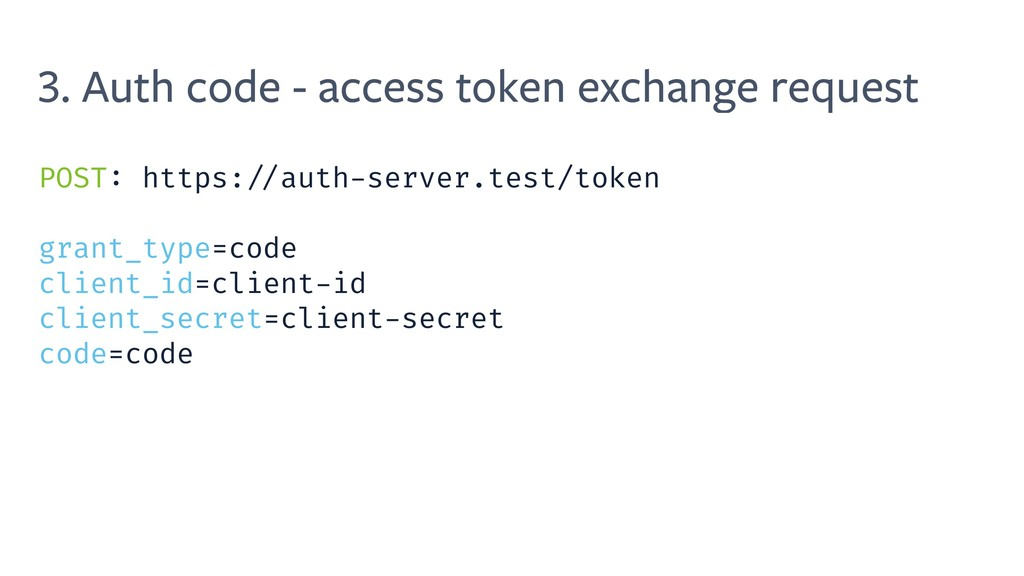3. Auth code - access token exchange request PO...