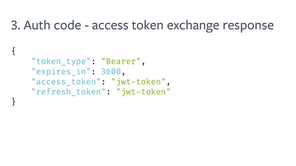 3. Auth code - access token exchange response {...