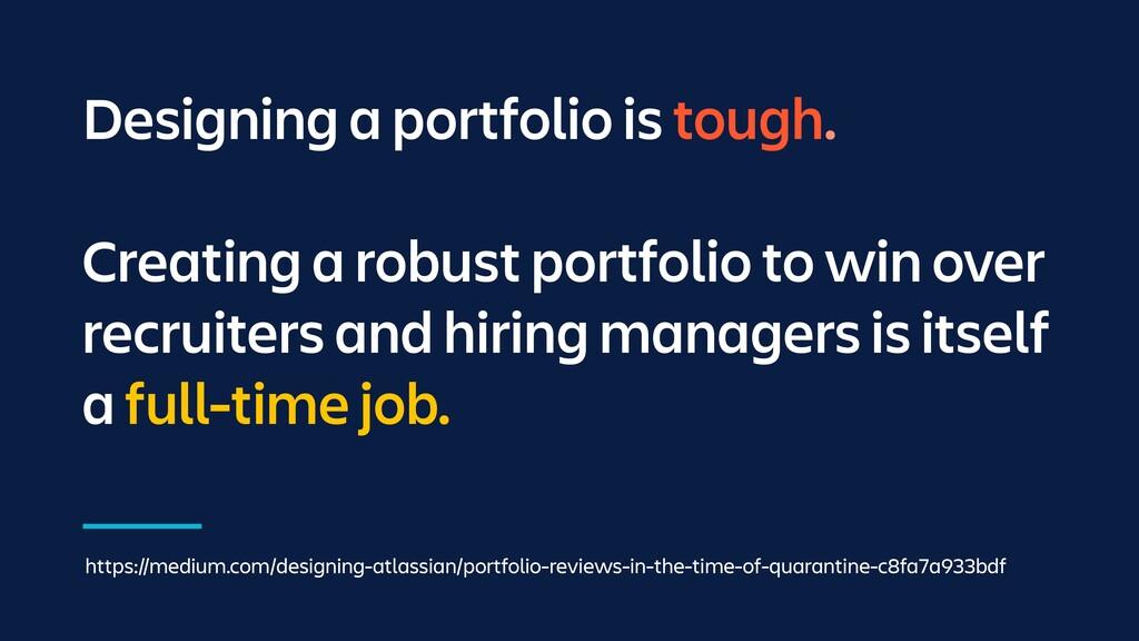 Designing a portfolio is tough. Creating a robu...