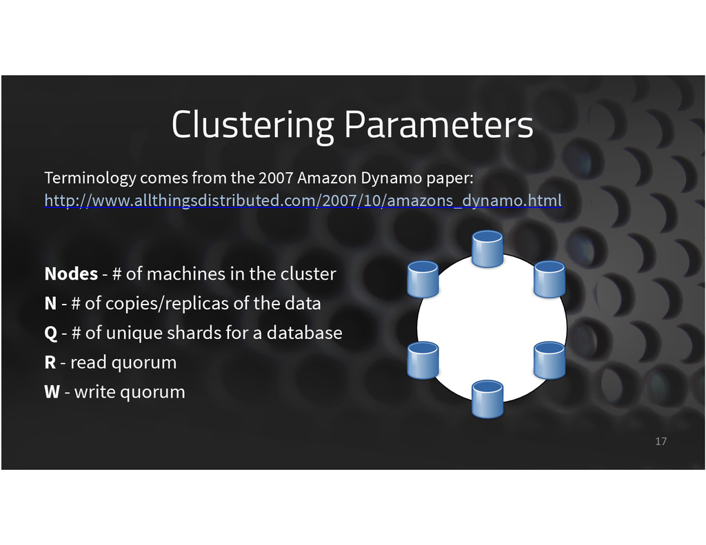 Clustering Parameters 17 Terminology comes from...