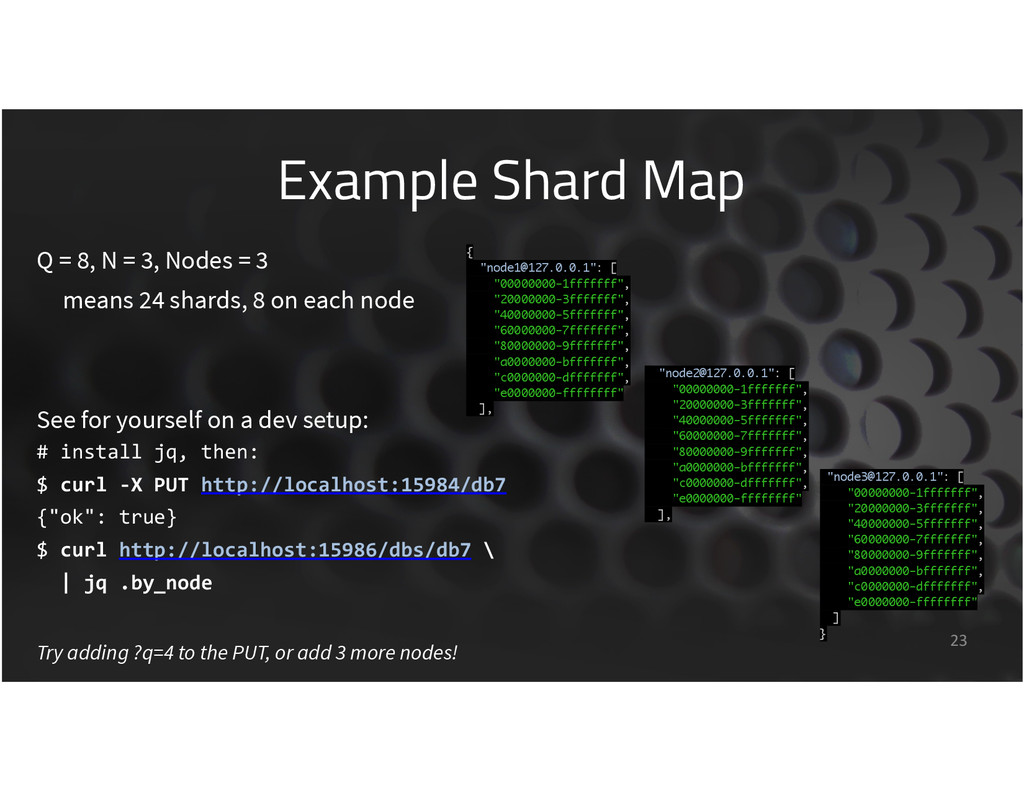 Example Shard Map 23 Q = 8, N = 3, Nodes = 3 me...