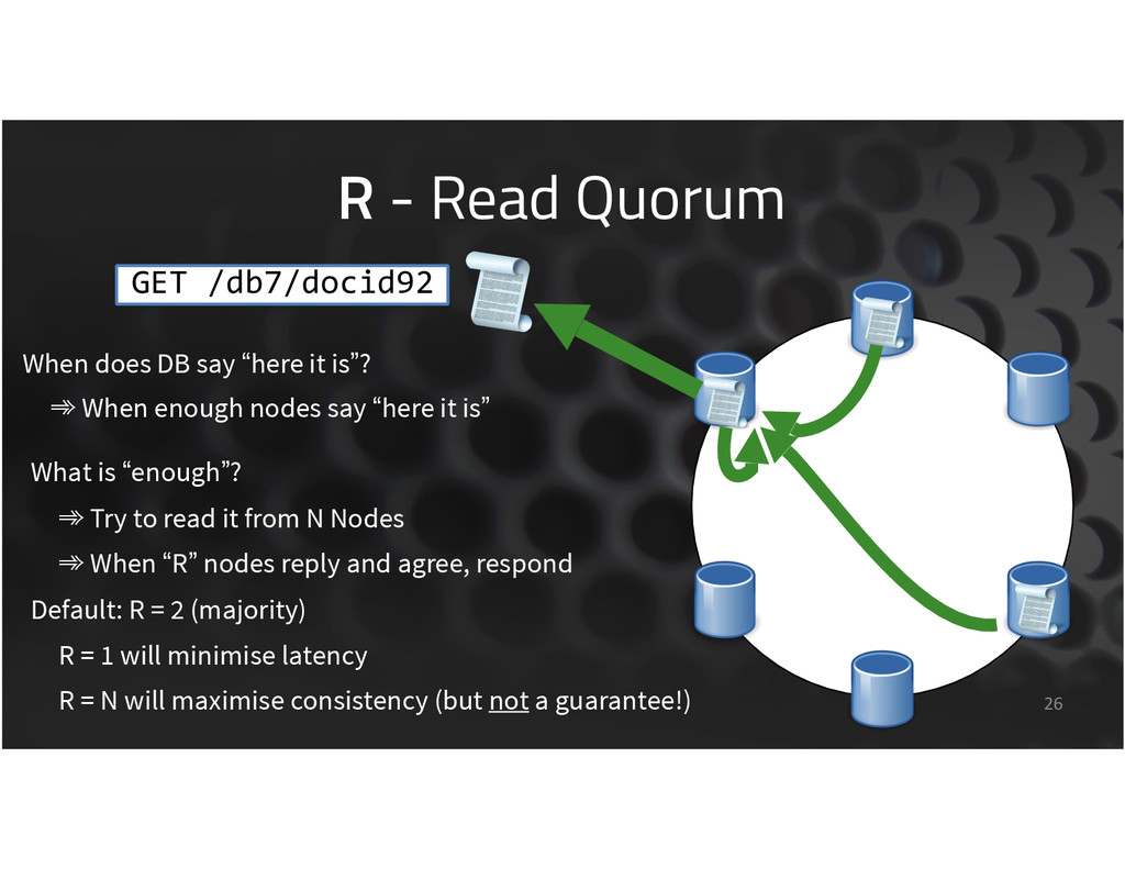 "R - Read Quorum 26 When does DB say ""here it is..."