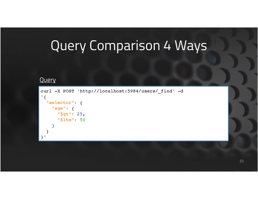 Query Comparison 4 Ways 35 Query curl -X POST '...