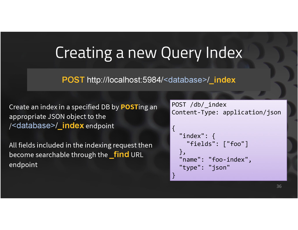 Creating a new Query Index 36 POST http://local...