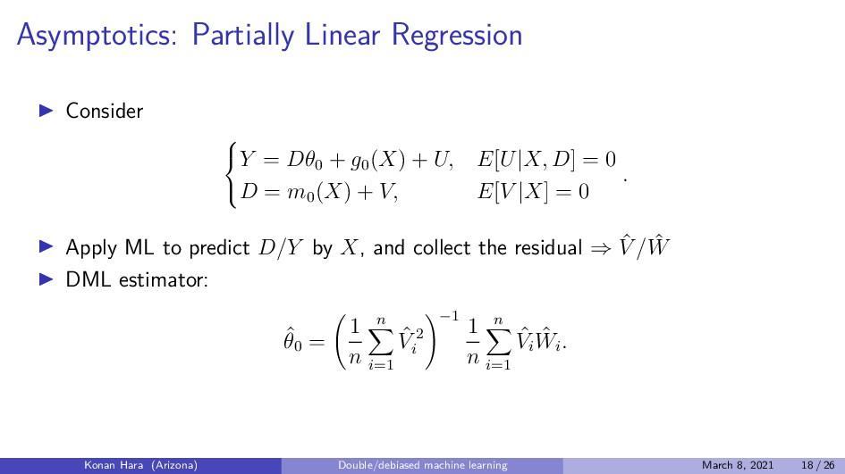 Asymptotics: Partially Linear Regression Consid...