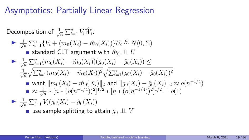 Asymptotics: Partially Linear Regression Decomp...