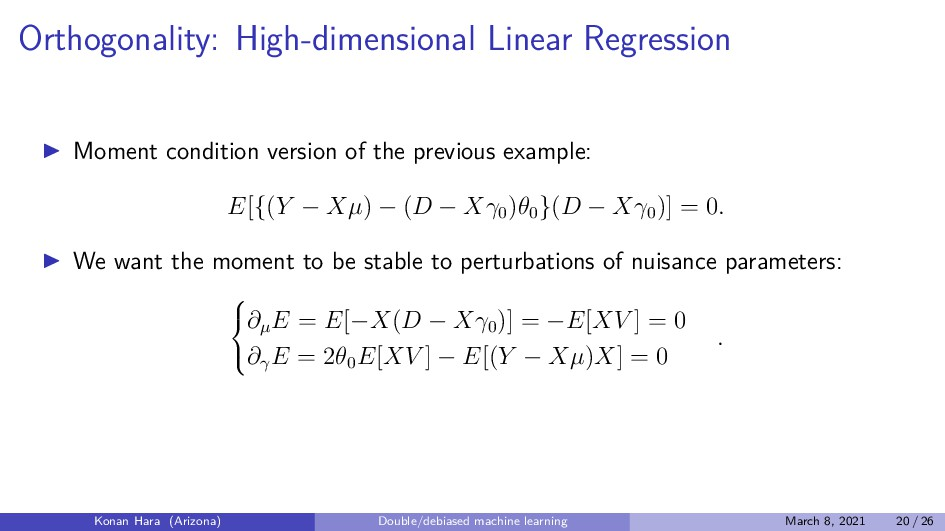 Orthogonality: High-dimensional Linear Regressi...