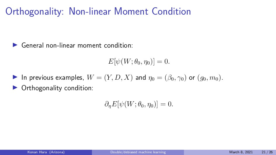 Orthogonality: Non-linear Moment Condition Gene...