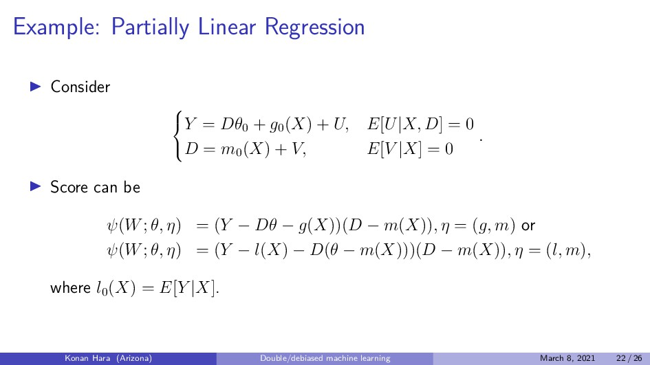 Example: Partially Linear Regression Consider ...