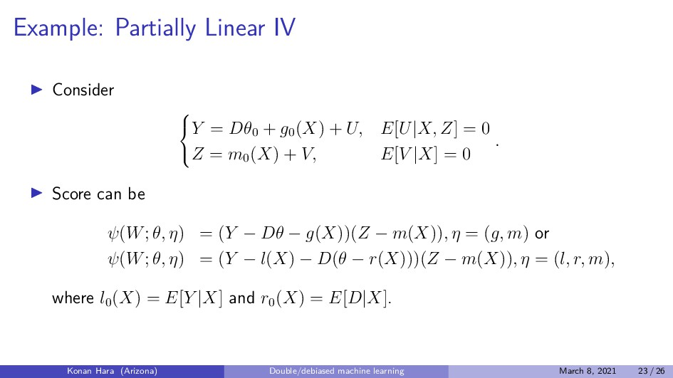 Example: Partially Linear IV Consider    Y =...