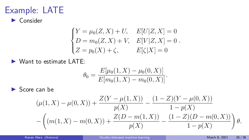 Example: LATE Consider        Y = µ0 (Z,...