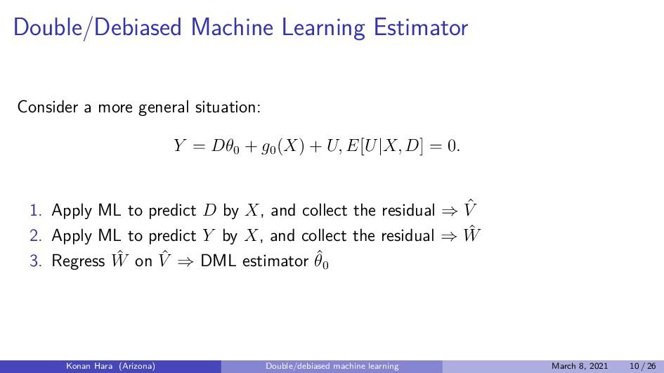 Double/Debiased Machine Learning Estimator Cons...