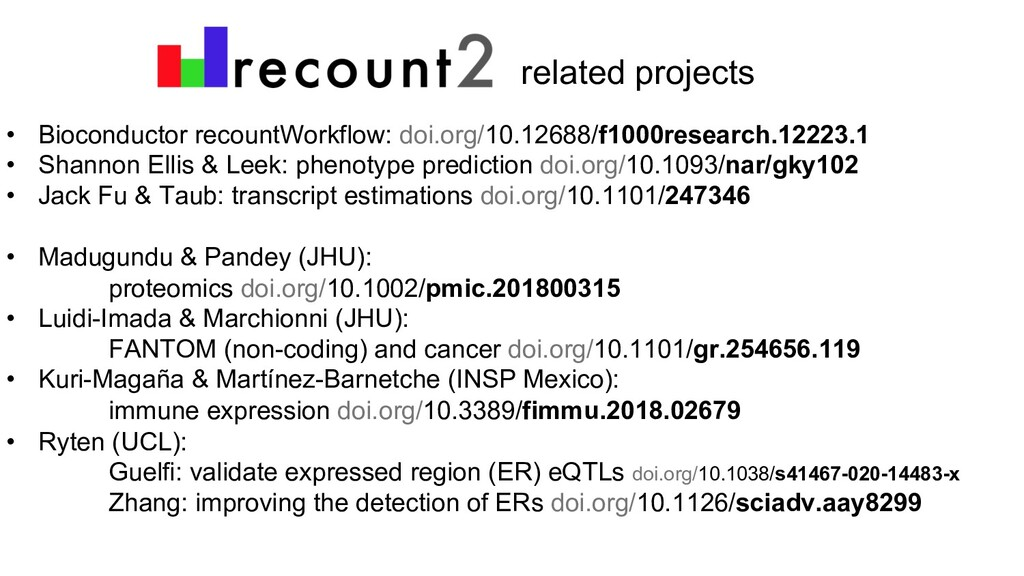 related projects • Bioconductor recountWorkflow...