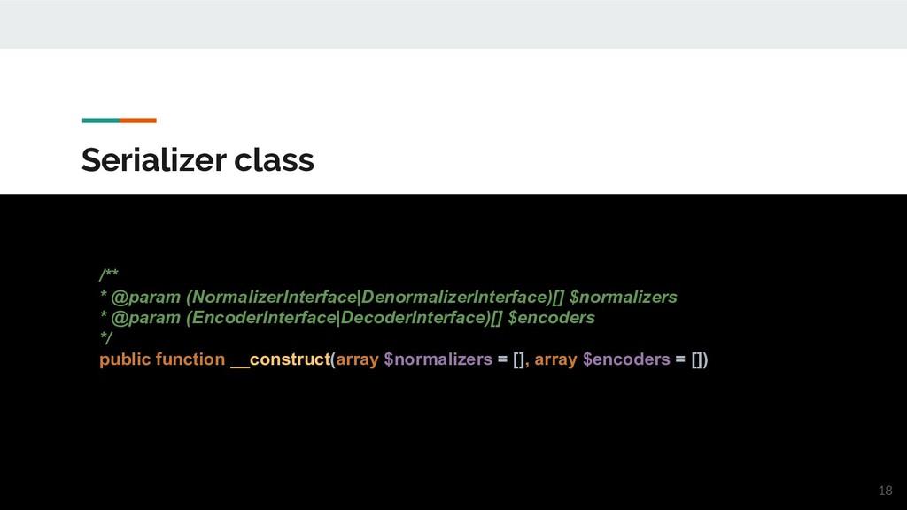 Serializer class /** * @param (NormalizerInterf...