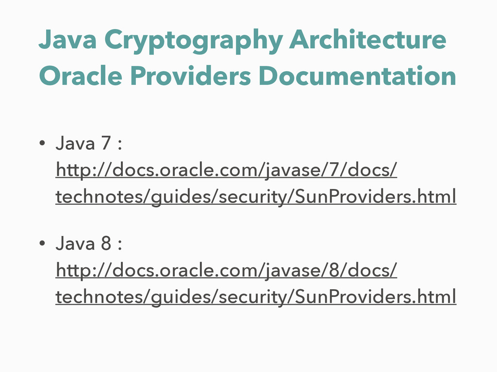 Java Cryptography Architecture Oracle Providers...
