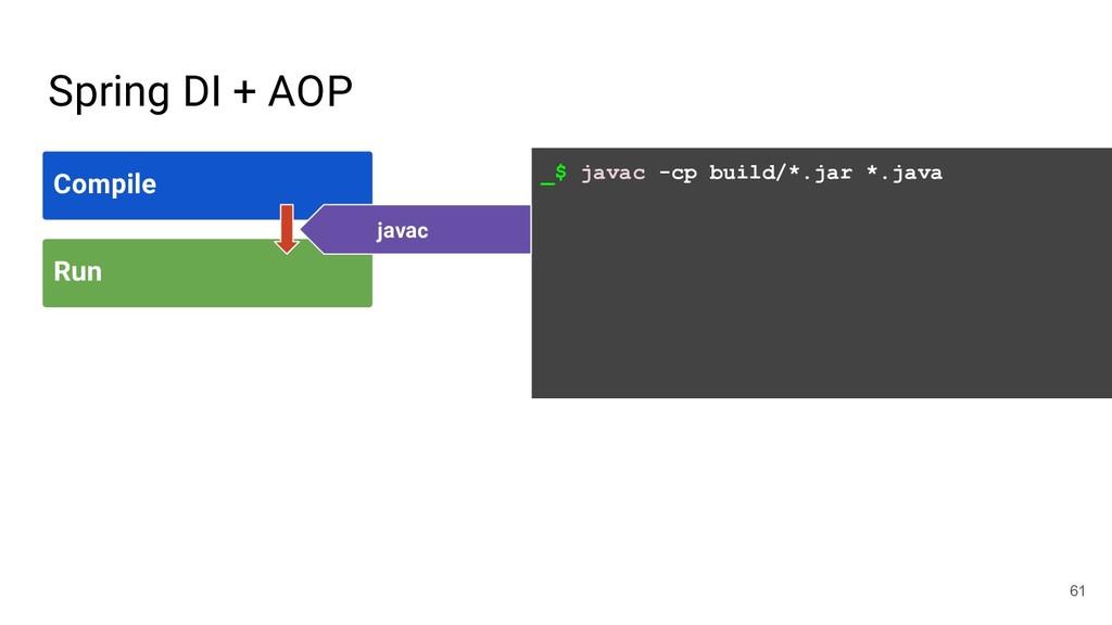 _$ javac -cp build/*.jar *.java Spring DI + AOP...