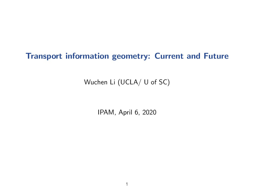 Transport information geometry: Current and Fut...