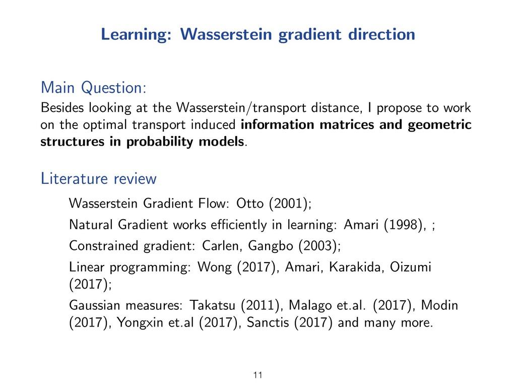 Learning: Wasserstein gradient direction Main Q...
