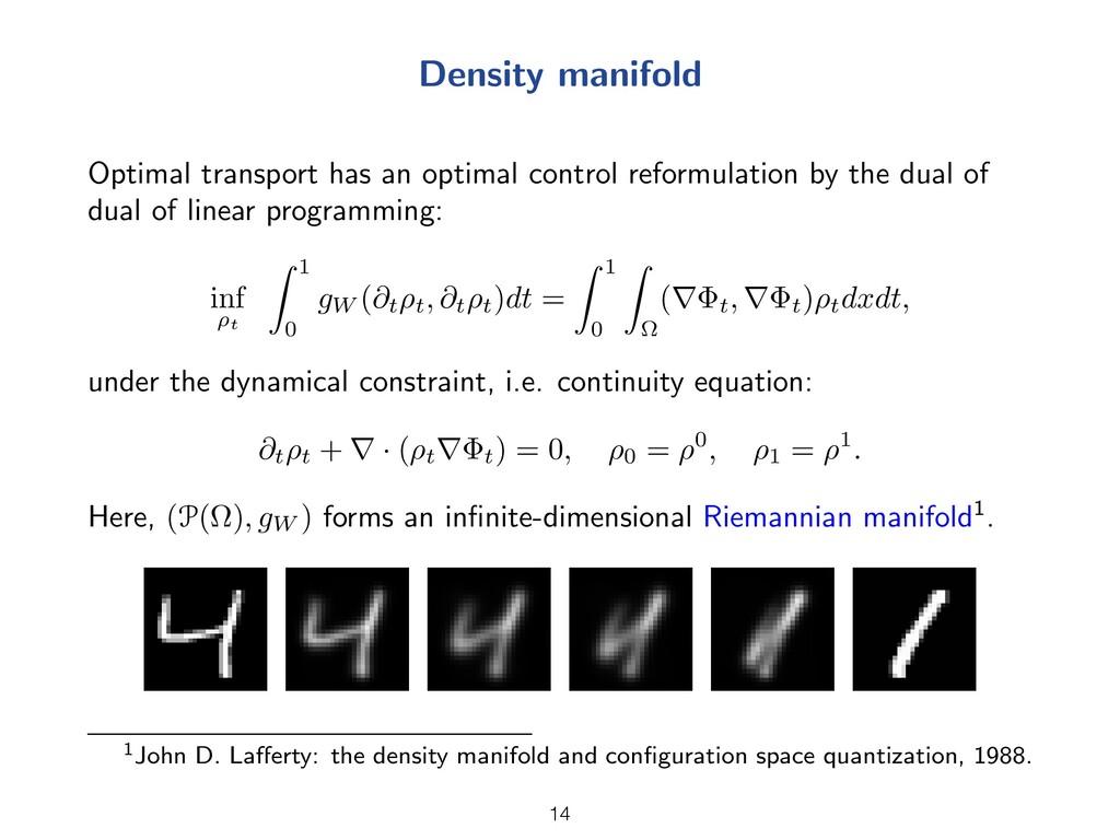 Density manifold Optimal transport has an optim...