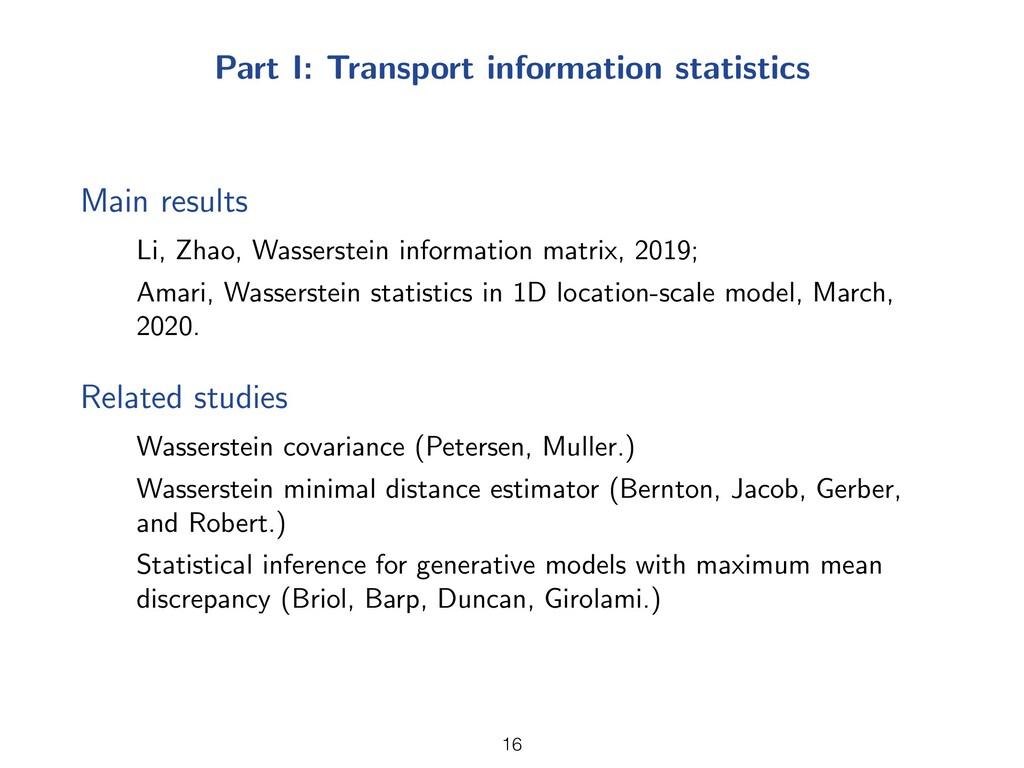 Part I: Transport information statistics Main r...