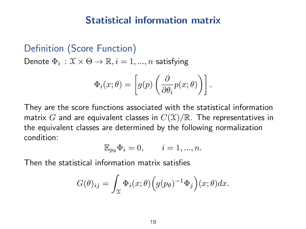 Statistical information matrix Definition (Score...