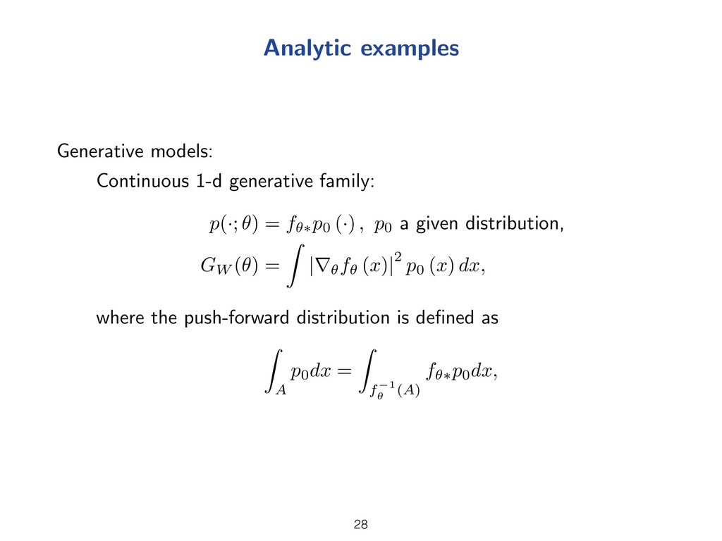 Analytic examples Generative models: Continuous...