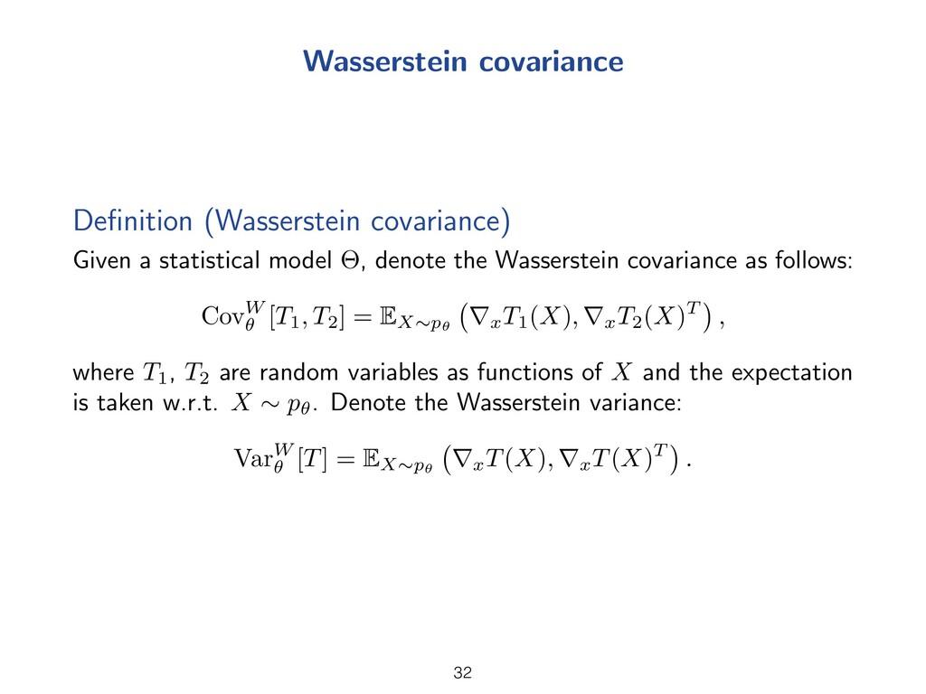 Wasserstein covariance Definition (Wasserstein c...