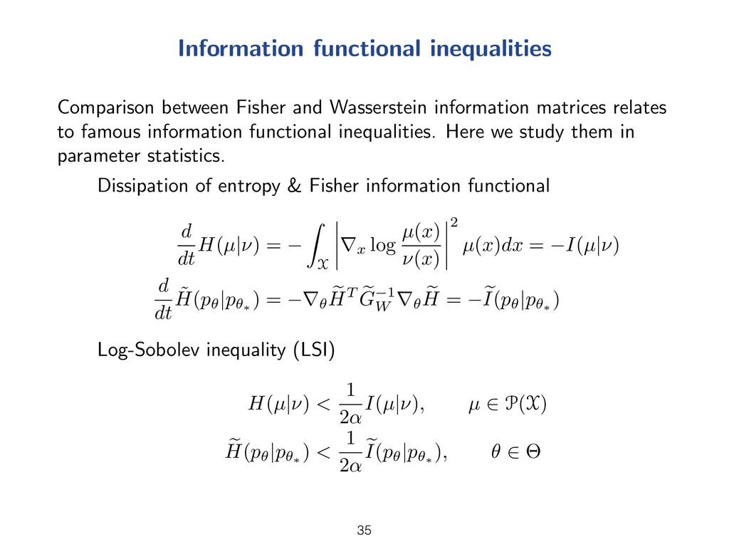 Information functional inequalities Comparison ...
